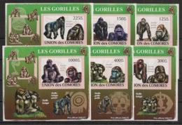 Comores - 2009 - KLB N°Yv. 1471 à 1476 - Gorilles - Non Dentelé / Imperf. - Neuf Luxe ** / MNH / Postfrisch - Gorilles