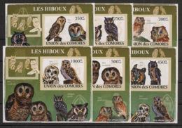 Comores - 2009 - KLB N°Yv. 1477 à 1482 - Hiboux - Non Dentelé / Imperf. - Neuf Luxe ** / MNH / Postfrisch - Hiboux & Chouettes