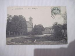 CPA  08  CHEVIERES La Place Et L'Eglise 1906  TBE - France