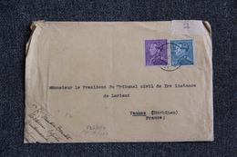Timbre Sur Lettre De BELGIQUE Vers FRANCE  ( Cachet VERSO : GEOFFNET ). - 1934-1935 Léopold III