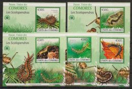 Comores - 2009 - KLB N°Yv. 1746 à 1750 - Scolopendre - Neuf Luxe ** / MNH / Postfrisch - Insectes