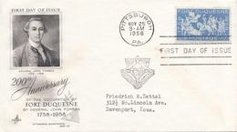 USA FDC 1958 - Schmuck-Brief Mit Stempel Pittsburgh - Ersttagsbelege (FDC)