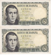 PAREJA CORRELATIVA DE 5 PTAS DEL 16/08/1951 SERIE T (SIN CIRCULAR-UNCIRCULATED)   (BANKNOTE) - [ 3] 1936-1975 : Régimen De Franco