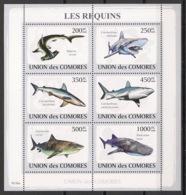 Comores - 2009 - N°Yv. 1483 à 1488 - Requins - Neuf Luxe ** / MNH / Postfrisch - Mammifères Marins