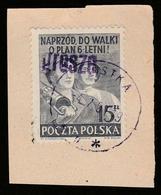 "POLAND POLSKA 1950 GROSZY ""grosze"" OVPT Type 22 SZCZECIN 2 Mi.665 USED ON CUTOUT, USED IN USTKA - 1944-.... République"