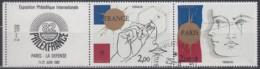 FRANKREICH 2262-2263, Dreierstreifen, Gestempelt, Internationale Briefmarkenausstellung PHILEXFRANCE '82, Paris., 1981 - France