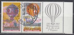 FRANKREICH 2387-2388, Dreierstreifen, Gestempelt, 200 Jahre Luft- Und Raumfahrt., 1983 - France