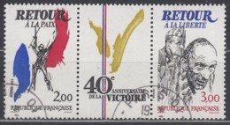 FRANKREICH 2499-2500, Dreierstreifen, Gestempelt, 40. Jahrestag Des Sieges, 1984 - France