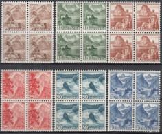 SCHWEIZ 500-505, 4erBlock,  Postfrisch **, Landschaften 1948 - Switzerland