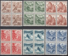 SCHWEIZ 500-505, 4erBlock,  Postfrisch **, Landschaften 1948 - Unused Stamps