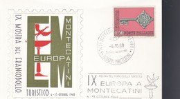 """ITALIA 1968 - IX MOSTRA FRANCOBOLLO TURISTICO.ANNULLO """"EUROPA A MONTECATINI"""". - 6. 1946-.. Repubblica"""