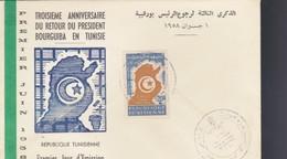 """TUNISIA 1958 - BUSTA FDC """"3°ANNIVERSARIO RITORNO BOURGHIBA IN TUNISIA"""". - Tunisia (1956-...)"""