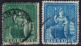 Barbados 1870/1872 Mi 11bA 1/2p Wmk Big Star, Mi 17C 1p Wmk Small Star Used O - Barbades (...-1966)