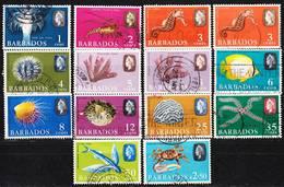 Barbados 1965-1967 Lot 12, Marine Life Definitives Used O - Barbados (...-1966)