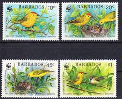 Barbados 1991 WWF Dendroica Petechia Complete Set Mi 770-773 MNH ** - Barbados (1966-...)