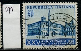 Italie - Italy - Italien 1954 Y&T N°671 - Michel N°907 (o) - 60l Les Accords De Latran - 1946-.. République