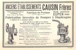 1927 - EUPEN - Rue Hoock - Fabrique De Pompes - Anciens Ets. CAUSIN Frères - Dim. 1/2 A4 - Publicités