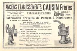 1927 - EUPEN - Rue Hoock - Fabrique De Pompes - Anciens Ets. CAUSIN Frères - Dim. 1/2 A4 - Werbung