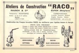 """1927 - EUPEN - Ateliers De Construction """"RACO"""" - RAUSCH & Cie - Dim. 1/2 A4 - Publicités"""