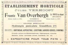 1927 - LA PINTE-lez-GAND -Etablissement Horticole - Jules VAN OVERBERGH - Dim. 1/2 A4 - Werbung