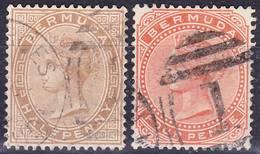 Bermuda 1880 QV Definitives Wmk Crown CC Mi 11-12 Used O, I Sell My Collection! - Bermudes
