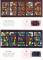 Y&T 2175/6 Vitraux Deux Cartes Croix Rouge 1er Jour 05/12/81 - Cartes-Maximum