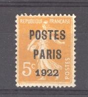 0ob  002  -  France   -  Préos  :  Yv  30  (*) - Préoblitérés