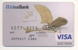 Credit Card Art Ornithopter By Leonardo Da Vinci Bankcard Idea Bank UKRAINE VISA Expired - Tarjetas De Crédito (caducidad Min 10 Años)