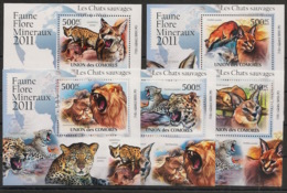 Comores - 2011 - KLB N°Yv. 2145 à 2149 - Chats Sauvages - Neuf Luxe ** / MNH / Postfrisch - Félins