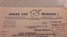 Devis André ORY Munster 68 Décoration Entreprise De Peinture Papiers Peints Vitrerie 1956 - Francia