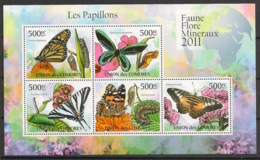 Comores - 2011 - N°Yv. 2125 à 2129 - Papillons - Neuf Luxe ** / MNH / Postfrisch - Papillons