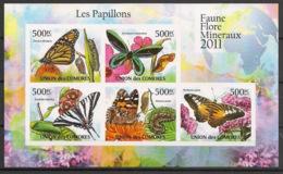 Comores - 2011 - N°Yv. 2125 à 2129 - Papillons - Non Dentelé / Imperf. - Neuf Luxe ** / MNH / Postfrisch - Farfalle