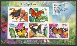 Comores - 2011 - N°Yv. 2130 à 2134 - Papillons - Non Dentelé / Imperf. - Neuf Luxe ** / MNH / Postfrisch - Farfalle