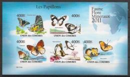 Comores - 2011 - N°Yv. 2135 à 2139 - Papillons - Non Dentelé / Imperf. - Neuf Luxe ** / MNH / Postfrisch - Farfalle
