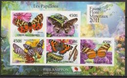 Comores - 2011 - N°Yv. 2140 à 2144 - Papillons - Non Dentelé / Imperf. - Neuf Luxe ** / MNH / Postfrisch - Farfalle