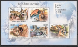 Comores - 2011 - N°Yv. 2145 à 2149 - Chats Sauvages - Neuf Luxe ** / MNH / Postfrisch - Félins