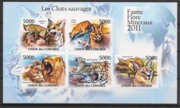 Comores - 2011 - N°Yv. 2145 à 2149 - Chats Sauvages - Non Dentelé / Imperf. - Neuf Luxe ** / MNH / Postfrisch - Félins
