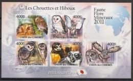 Comores - 2011 - N°Yv. 2230 à 2234 - Chouettes Et Hiboux - Non Dentelé / Imperf. - Neuf Luxe ** / MNH / Postfrisch - Hiboux & Chouettes