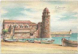 D66 - COLLIOURE  - L'EGLISE - Illustrateur DESMARAIS - BARRE DAYEZ - Collioure