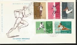 O) 1960 SAN MARINO, OLYMPIC GAMES-ROME, WALKING-SHOT PUT-GYMNASTICS-HOCKEY-ROWING, FDC XF - FDC