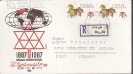 """IRLANDA 1967 - BUSTA FDC """"CENTENARIO CONFEDERAZIONE DEL CANADA"""".RACCOMANDATA DUBLINO 28/08/1967. - FDC"""