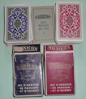 Lot De 2 Anciens  Jeux De Cartes LEXICON Avec Règles De Jeu, 2 Versions Dos Différents Rouge/bleu - Non Classés