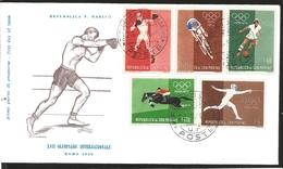 O) 1960 SAN MARINO, OLYMPIC GAMES-ROME, BOXING-BICYCLING-SOCCER-EQUESTRIAN-FENCING, FDC XF - FDC