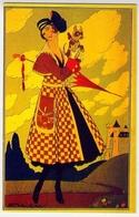 Donnina - Con Cane - Achille Mauzan - Riproduzione Da Originale - Cartes Postales
