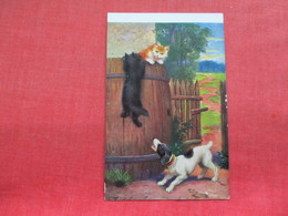 Dog Chasing Cat  Up Barrel   Ref 3296 - Chiens