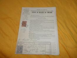 DOCUMENT MAIRIE DE MEAUX. EXTRAIT DU REGLEMENT DU CIMETIERE...ANNEE 1889..CONCESSION DE TERRAIN...CACHET + TIMBRES DIMEN - Vieux Papiers