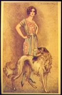 Donnina - Con Levriero - Tito Corbella Moda - Italia 1916 - Cartes Postales