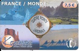 CARTE-PREPAYEE-KOSMOS-7.5 € -QUATRES POINTS CARDINAUX-10/2002-50000 Ex-T BE- - France