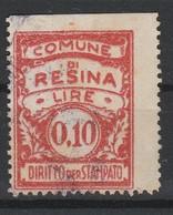 Resina. Marca Municipale Diritti Per Stampato L. 0,10 - Italie