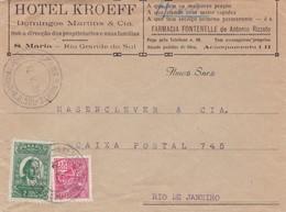 HOTEL KROEFF COMMERCIAL ENVELOPPE CIRCULEE RIO GRANDE DO SUL A RIO DE JANEIRO, BRASIL BRESIL BRAZIL YEAR 1938 - BLEUP - Storia Postale